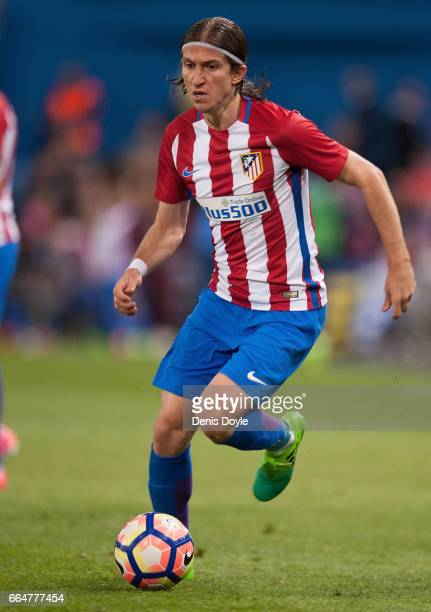 Felipe Luis of Club Atletico de Madrid in action during the La Liga match between Club Atletico de Madrid and Real Sociedad de Futbol at Vicente...