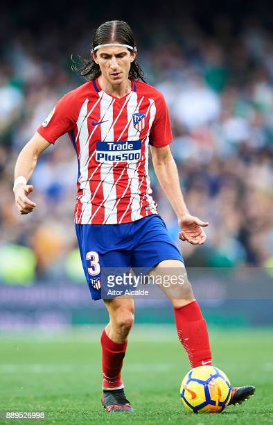 Filipe Luis of Club Atletico de Madrid in action during the La Liga match between Real Betis and Atletico Madrid at Estadio Benito Villamarin on...