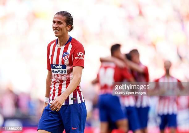 Filipe Luis of Club Atletico de Madrid reacts during the La Liga match between Club Atletico de Madrid and Sevilla FC at Wanda Metropolitano on May...