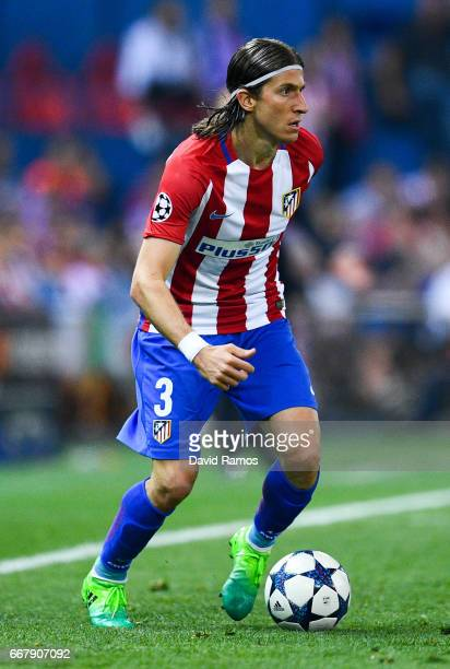 Filipe Luis of Club Atletico de Madrid runs with the ball during the UEFA Champions League Quarter Final first leg match between Club Atletico de...