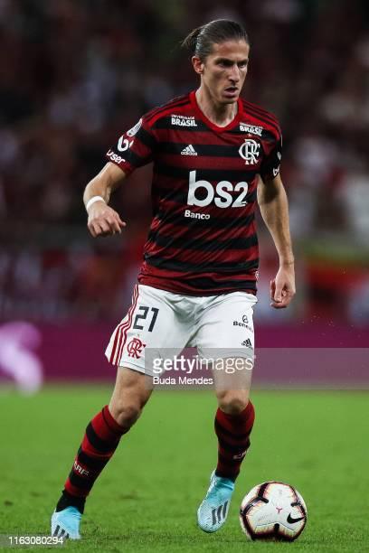 Filipe Luis of Flamengo controls the ball during a match between Flamengo and Internacional as part of Copa CONMEBOL Libertadores 2019 at Maracana...