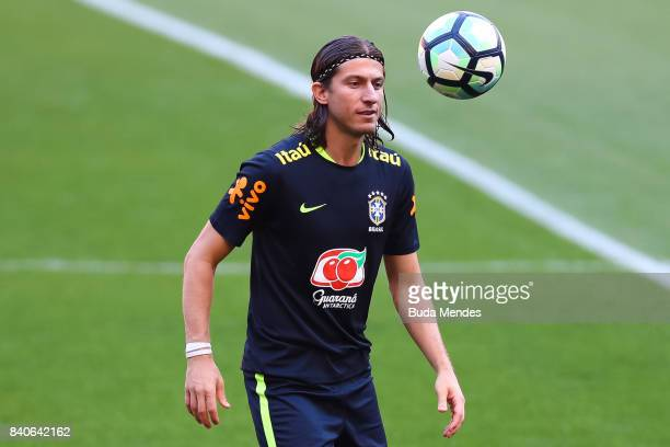 Filipe Luis takes part in a training session at the Beira Rio Stadium on August 29 2017 in Porto Alegre Brazil ahead of their 2018 FIFA World Cup...
