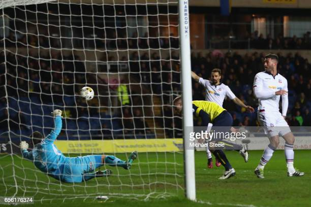 Filipe Morais of Bolton scores the opening goal during the Sky Bet League One match between Oxford United and Bolton Wanderers at the Kassam Stadium...
