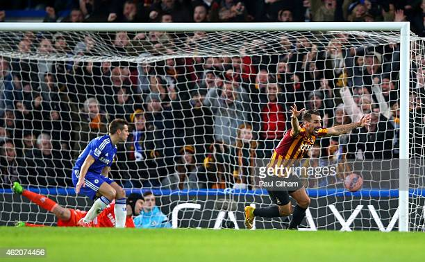 Filipe Morais of Bradford City celebrates after scoring his team's second goal to level the scores at 22 during the FA Cup Fourth Round match between...