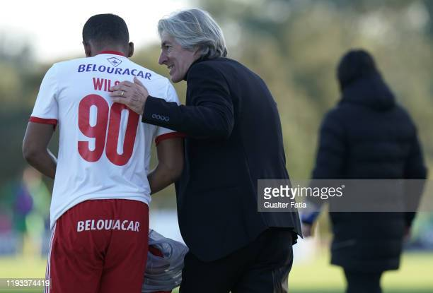 Filipe Moreira of UD Vilafranquense talks with Wilson Santos of UD Vilafranquense during the Liga Pro match between CD Mafra and UD Vilafranquense at...
