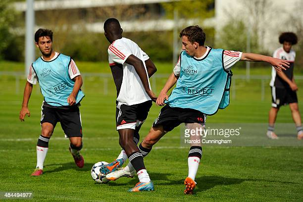 Filipe Nascimento Romario Balde and Filipe Ferreira of SL Benfica train during the UEFA Youth League phase final at Colovray prior to the SL Benfica...