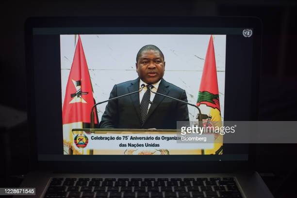 Filipe Nyusi, Mozambique's president, speaks during the United Nations General Assembly seen on a laptop computer in Hastings on the Hudson, New...