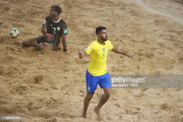 Filipe of Brazil celebrates a goal during the FIFA Beach Soccer World Cup Paraguay 2019 group D match between Brazil and Oman at Estadio Mundialista...
