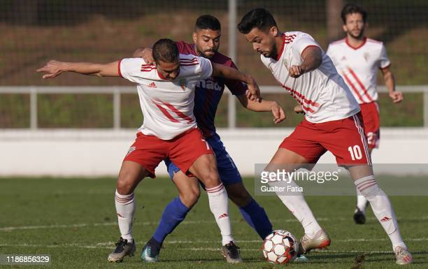 Filipe Oliveira of UD Vilafranquense with China of UD Vilafranquense and Gustavo Costa of CD Cova da Piedade in action during the Liga Pro match...