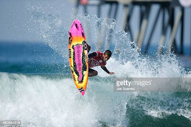 Filipe Toledo of Brazil surfing during his Round 4 Heat at the Vans US Open of Surfing on August 1 2015 in Huntington Beach California