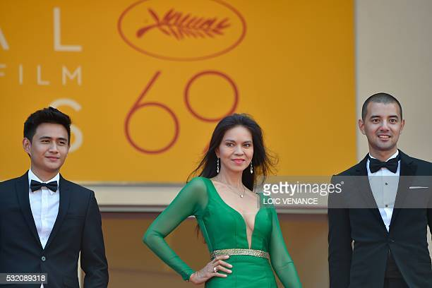 Filipino actor Jomari Angeles Filipino actress Maria Isabel Lopez and Filipino actor John Paul Duray pose as they arrive on May 18 2016 for the...