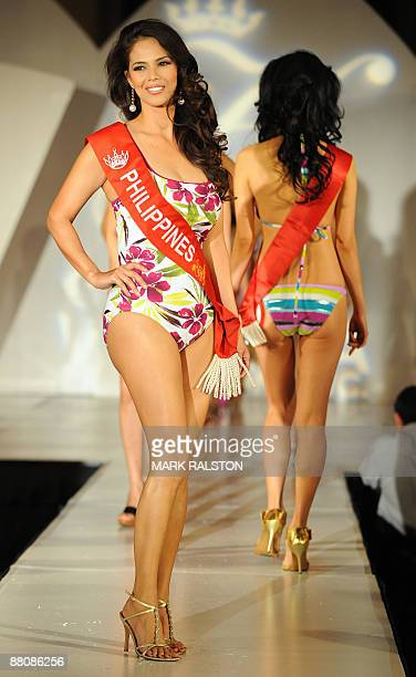 Filipino actress and singer Patricia Javier models in a swimsuit as she competes in the first round of the Mrs Asia USA beauty competition in Los...