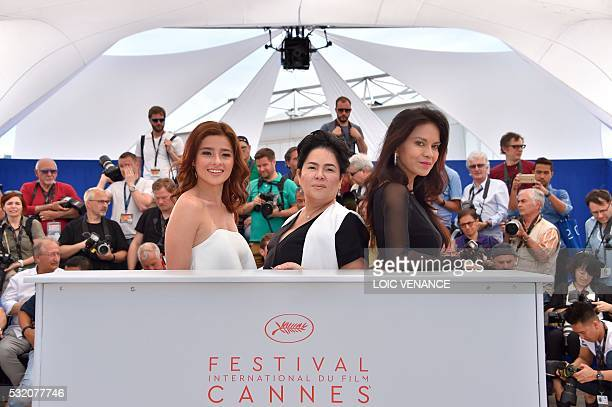 Filipino actress Andi Eigenmann Filipino actress Jaclyn Jose and Filipino actress Maria Isabel Lopez pose on May 18 2016 during a photocall for the...