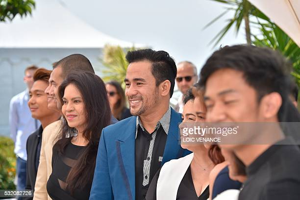 Filipino actress Maria Isabel Lopez and Filipino actor Neil Ryan PSese pose on May 18 2016 during a photocall for the film 'Ma'Rosa' at the 69th...