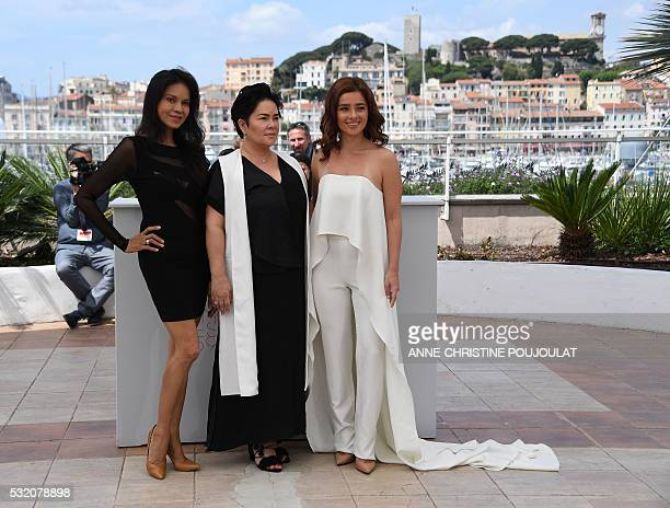 Filipino actress Maria Isabel Lopez Filipino actress Jaclyn Jose and Filipino actress Andi Eigenmann pose on May 18 2016 during a photocall for the...
