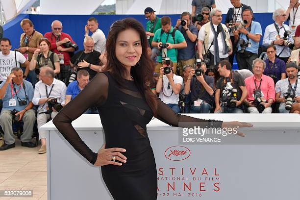 Filipino actress Maria Isabel Lopez poses on May 18 2016 during a photocall for the film 'Ma'Rosa' at the 69th Cannes Film Festival in Cannes...