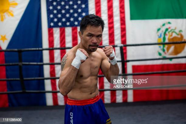 Filipino boxer Manny Pacquiao attends an afternoon training session at Wild Card Boxing in Los Angeles on June 20 2019 Veteran trainer Freddie Roach...