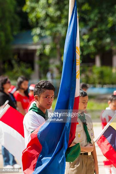 filipino boy scout - philippines flag stock pictures, royalty-free photos & images