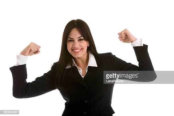 Filipino businesswoman gesturing flexing muscles