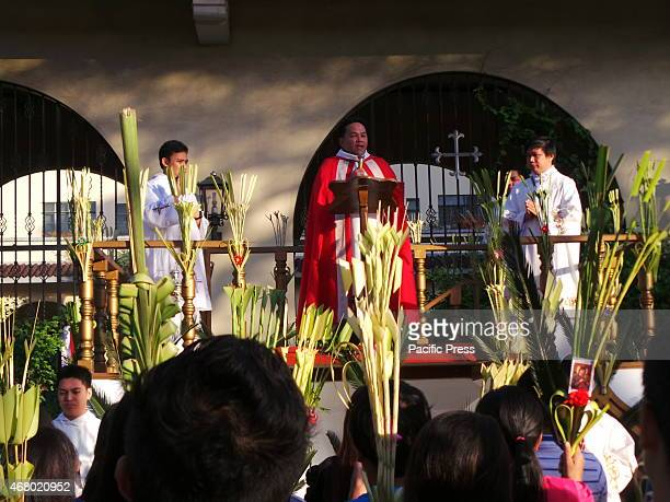 Filipino Catholic celebrates Palm Sunday by bringing 'palaspas' or palm fronds to the church to commemorate the triumphant entry of Jesus in...