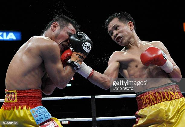 Filipino defending champion Gerry Penalosa connects a right to Thai challenger Ratanachai Sor Vorapin in Manila on April 6 2008 during the World...