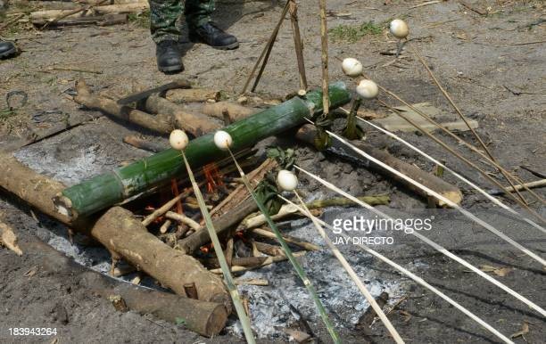 Filipino Marines teach US Marines how to cook using young bamboo during a survival training excercise on how to survive in tropical jungles at a...