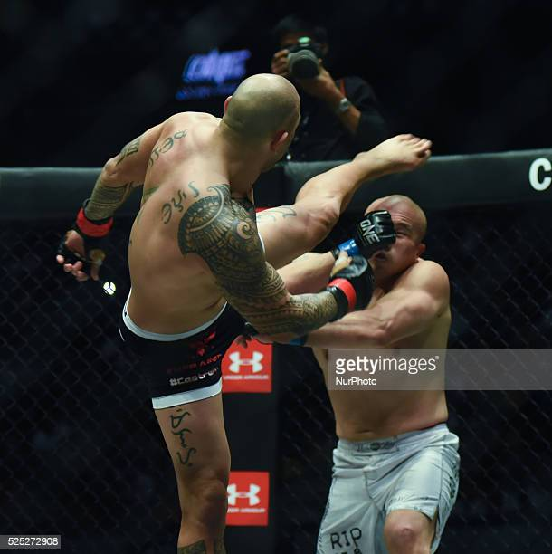Filipino mixed martial artist Brandon Vera in action against his opponent Paul 'Typhoon' Cheng of Chinese Taipei during their match for the inaugural...