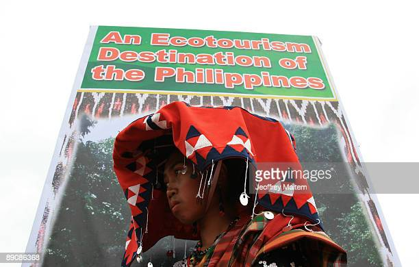 Filipino native is seen hours before they perform at the 2009 T�nalak Festival showcasing South Cotabato Province tribal cultures on July 18 2009 in...