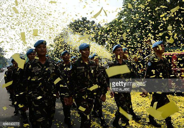Filipino peacekeepers who recently arrived from the Golan heights and whose members engaged the AlQaedalinked rebels in a fourday standoff refusing...