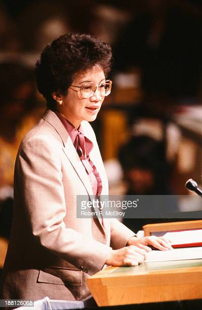 Filipino politician President Corazon Aquino addresses the United Nations General Assembly New York New York September 22 1986