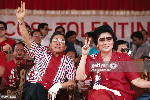 Filipino President Ferdinand Marcos and his wife Imelda during his campaign for presidential elections | Location Mindoro Philippines