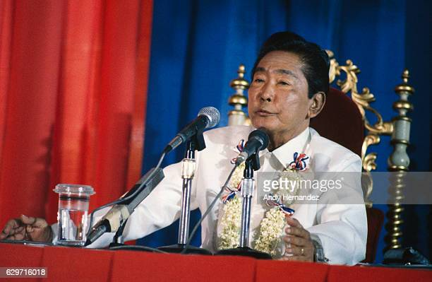 Filipino President Ferdinand Marcos during a press conference