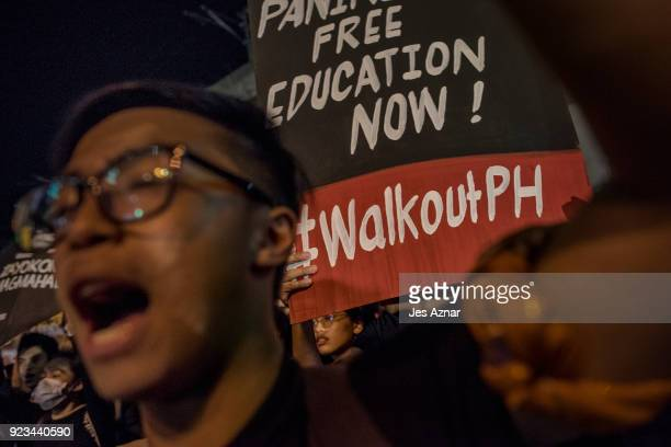 Filipino students and activists who walked out from their schools and universitie hold what they call a nationwide protest for rights freedom and...
