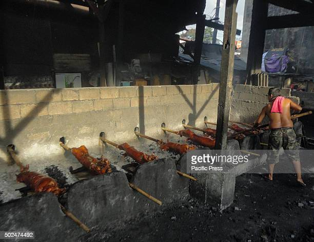 Filipino worker handles roasted pig cooked in bamboo rotiserries at suburban Quezon City east of Manila Philippines Roasted pig locally called...