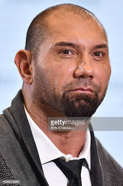 FilipinoAmerican actor Dave Bautista during an event to launch the 24th James Bond film 'Spectre' at Pinewood Studios at Iver Heath in...