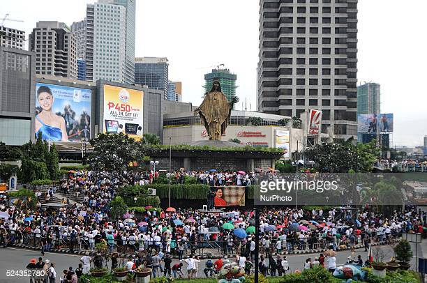 Filipinos attend a prayer rally at the Shrine of Mary in Quezon city Metro Manila Philippines September 11 2013 Public outrage ensued following...