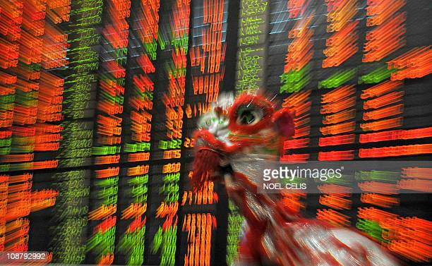 Filipinos perform a dragon dance on the trading floor of the Philippine Stock Exchange in Manila on February 3 2011 to celebrate the Lunar New Year's...