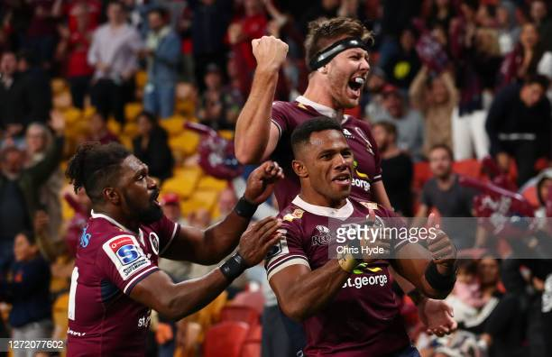 Filipo Daugunu of the Reds celebrates after scoring a try during the Qualifying Final Super Rugby AU match between the Queensland Reds and Melbourne...