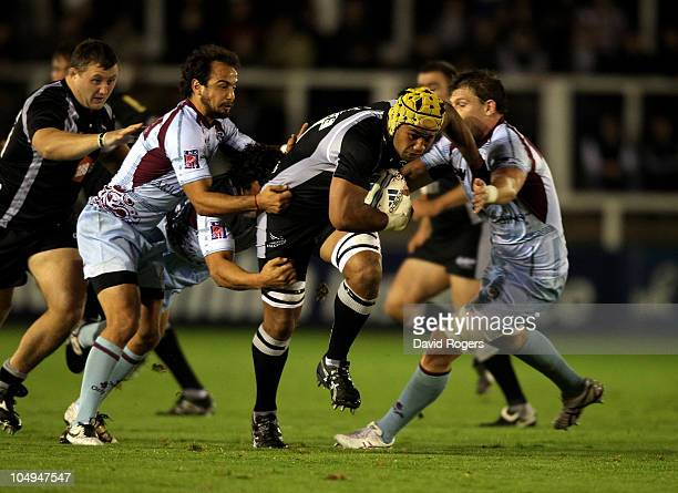 Filipo Levi of Newcastle charges forward during the Amlin Challenge Cup match between Newcastle Falcons and Bourgoin at Kingston Park on October 7,...