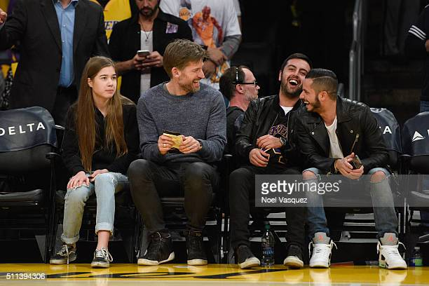 Filippa CosterWaldau and Nikolaj CosterWaldau attend a basketball game between the San Antonio Spurs and the Los Angeles Lakers at Staples Center on...