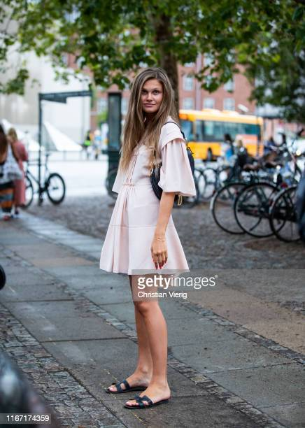 Filippa Haegg is seen wearing pastel dress outside Saks Potts during Copenhagen Fashion Week Spring/Summer 2020 on August 08 2019 in Copenhagen...