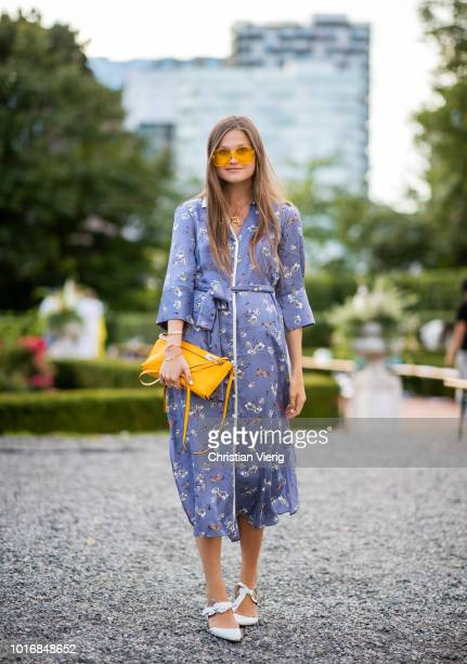 Filippa Haegg weairng belted dress is seen outside byTiMo during Oslo Runway SS19 on August 14 2018 in Oslo Norway