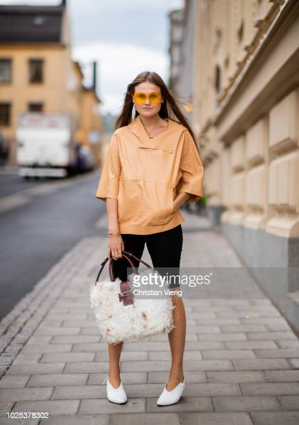 Filippa Haegg wearing cycle pants during Stockholm Runway SS19 on August 30 2018 in Stockholm Sweden