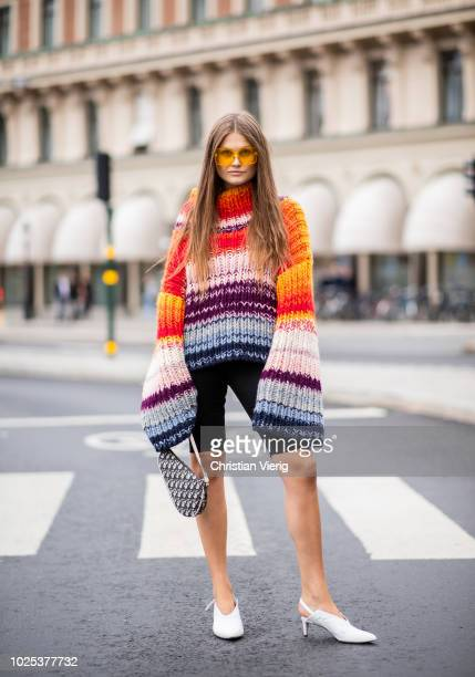 Filippa Haegg wearing knit bike pants during Stockholm Runway SS19 on August 30 2018 in Stockholm Sweden