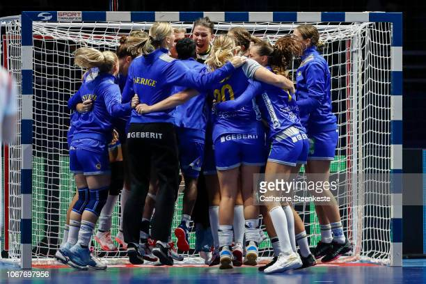 Filippa Idehn of Sweden is celebrating with her teammates the victory of the EHF Women's Euro match between Sweden and Serbia on December 2 2018 in...