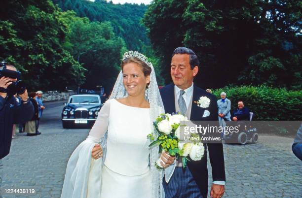 Filippa Princess of Sayn Wittgenstein with her father Alexander Prince of Sayn Wittgebstein Sayn on the day of her wedding with Count Vittorio...