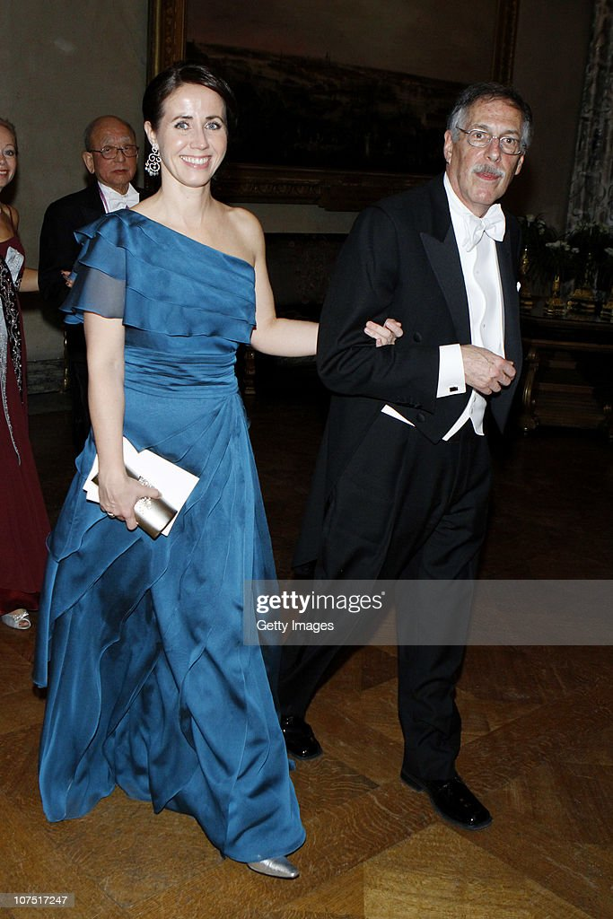 Filippa Reinfeldt and Peter A. Diamond arrive to the Nobel Banquet at the Stockholm City Hall on December 10, 2010 in Stockholm, Sweden. The banquet features a three-course dinner, entertainment and dancing.