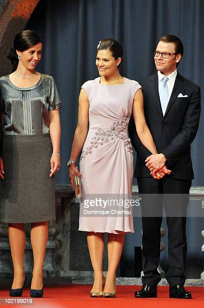 Filippa Reinfeldt wife of swedish Prime Minister stands next to Princess Victoria of Sweden and fiance Daniel Westling during the Government...
