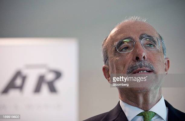 Filippo Bagnato, chief executive officer of Avions de Transport Regional , speaks during a news conference to announce the company's results in...