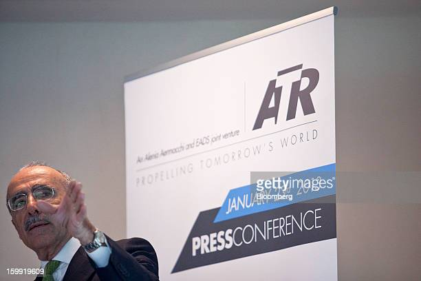 Filippo Bagnato, chief executive officer of Avions de Transport Regional , gestures during a news conference to announce the company's results in...